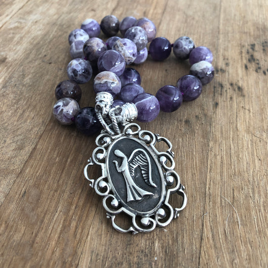 Chevron Amethyst Bead Necklace