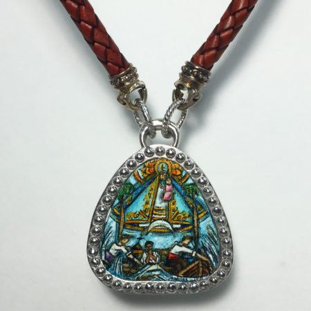 Hand Painted Caridad del Cobre Necklace