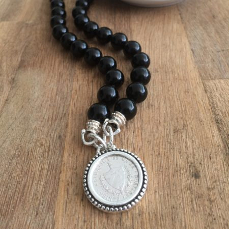 Medium Size Crest on Beaded Bezel Necklace