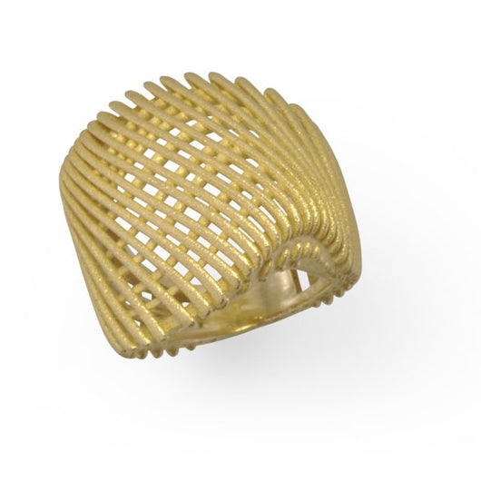 Yellow Gold and Diamond Ring in Architecture Design