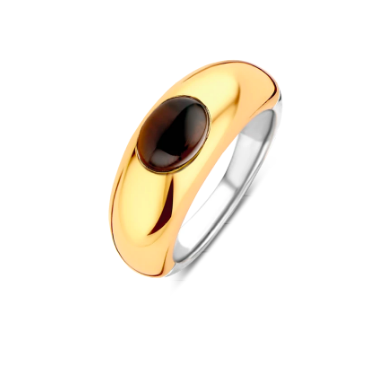 Gold Plated Ring with Brown Stone TS