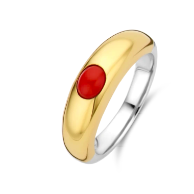 Gold Plated Ring with Red Stone TS