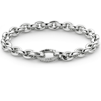 Oval Link Bracelet with Zircon Clasp TS