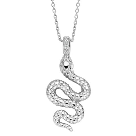 Silver Snake Necklace with Zircon Clasp TS