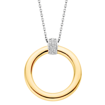 Golden Circle Necklace with Zircon TS