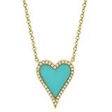 14k Yellow Gold Turquoise Heart Necklace SML