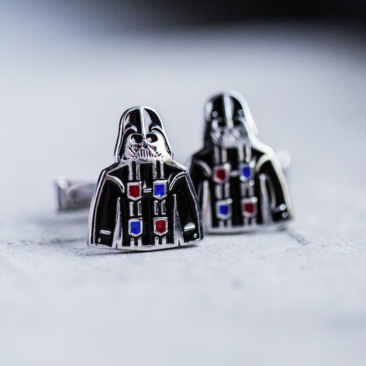 Sterling Silver Enamel Cufflinks Darth Guayabera