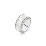 Silver Mother of Pearl Ring with Zirconia
