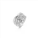Thin Multi Wrap Silver Ring with Zirconia