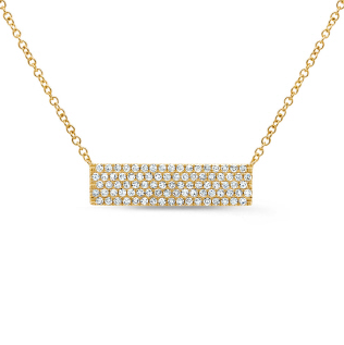 Yellow Gold Diamond Bar Necklace