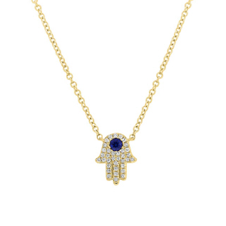 Yellow Gold Diamond and Sapphire Hamsa