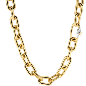 Milano Fancy Oval Gold Plated Necklace