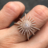 Yellow Gold Starburst Diamond Ring