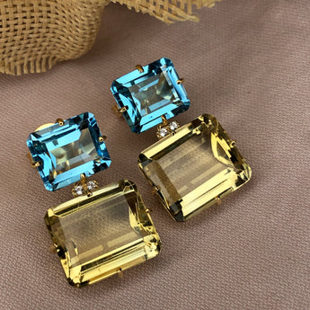 Semi-Precious Double Rectangle Earrings