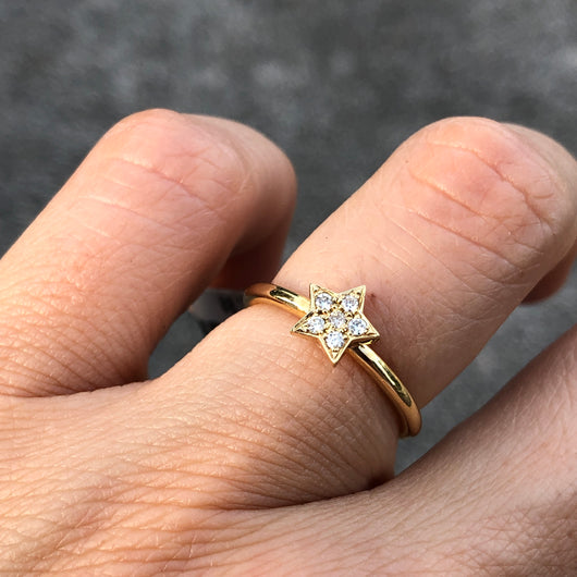 Yellow Gold Star Stack Ring