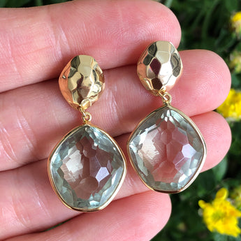 Semi-Precious Earrings Dangle Green Amethyst