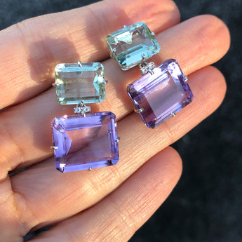 Semi-Precious Double Rectangle Earrings Amethyst