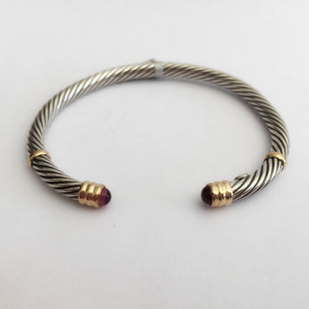 Twisted Bangle with Amethyst