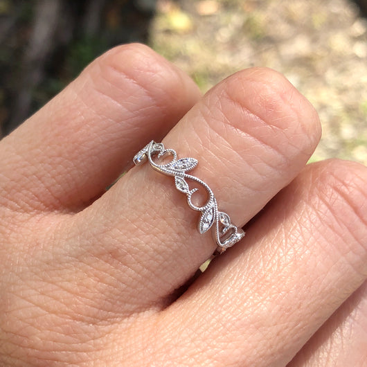 White Gold Lace Ring