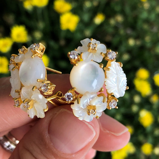 Mother of Pearl Flower Bouquet Earrings