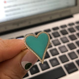 14k Yellow Gold Turquoise Heart Ring