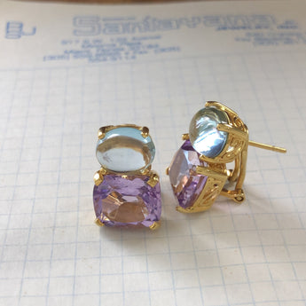 Blue Topaz and Amethyst Ovals Earrings