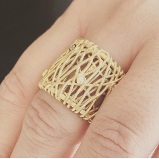 14K Yellow Gold Wire Ring with Diamonds