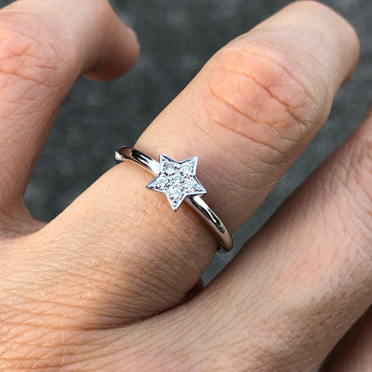 White Gold Star Stack Ring