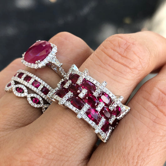 Checkered Ruby Ring