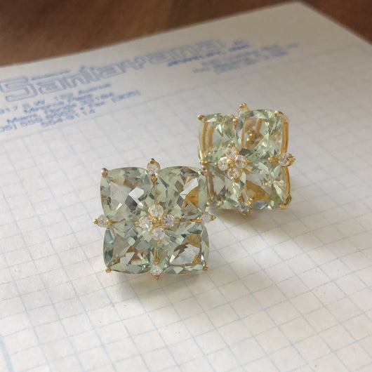 Large Green Amethyst Square Earrings