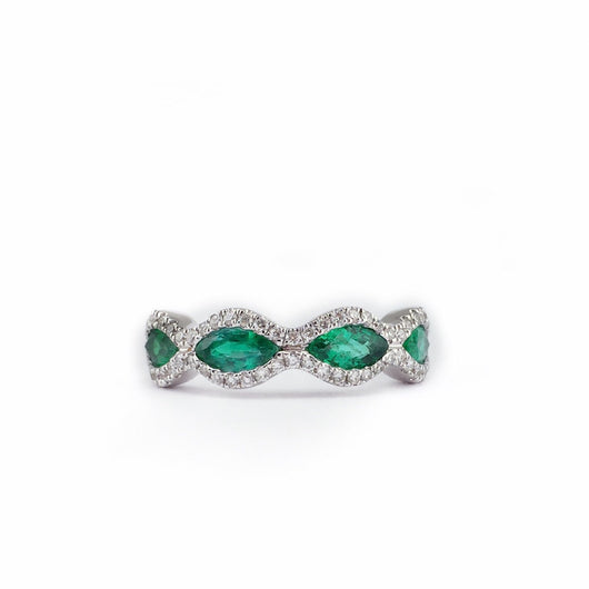 Emerald and Diamond Band Ring