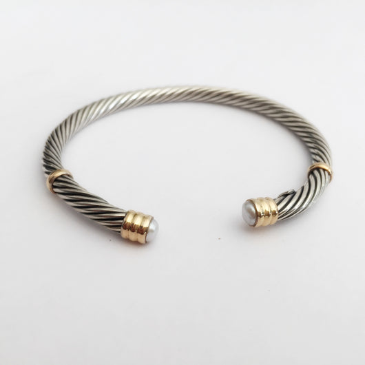 Silver Mini Twisted Bangle with Pearl