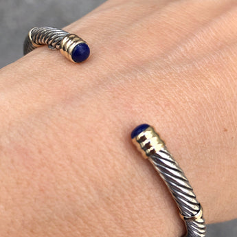 Silver Mini Twisted Bangle with Lápiz
