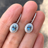 Aquamarine Earring with Diamond Halo