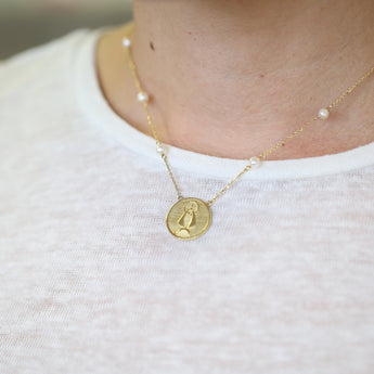 Caridad del Cobre Medal Necklace in Yellow Gold