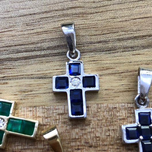 Sapphire Cross with Diamond