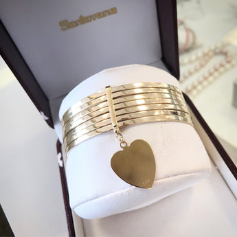 Cuban Arito Bangles with Buckle and Heart Charm