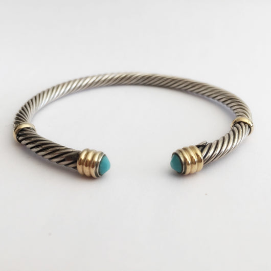 Mini Twist Bangle with Turquoise