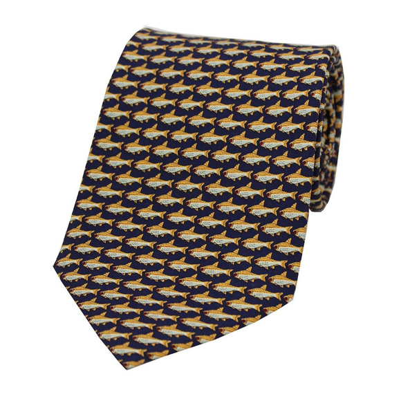 Soprano Fishes On Navy Silk Tie