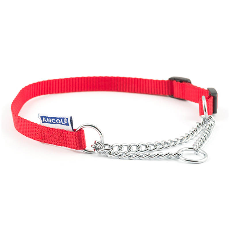 Nylon Check Chain Collar Red 55-75cm Size 7-10