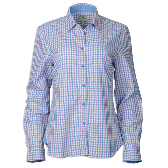 Becky Ladies Cotton Shirt Pink/Blue Check