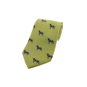 Soprano Black Labradors On Green Ground Country Silk Tie