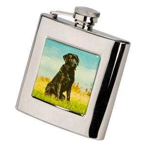 6oz Square Labrador Hip Flask