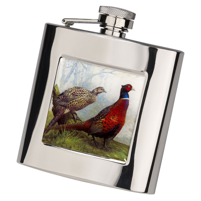6oz Square Pheasant Hip Flask