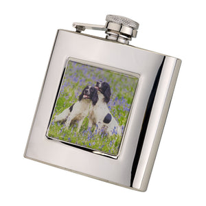 6oz Square Spaniels Hip Flask