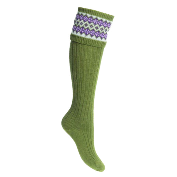 Lady Fairisle Shooting Socks - Moss