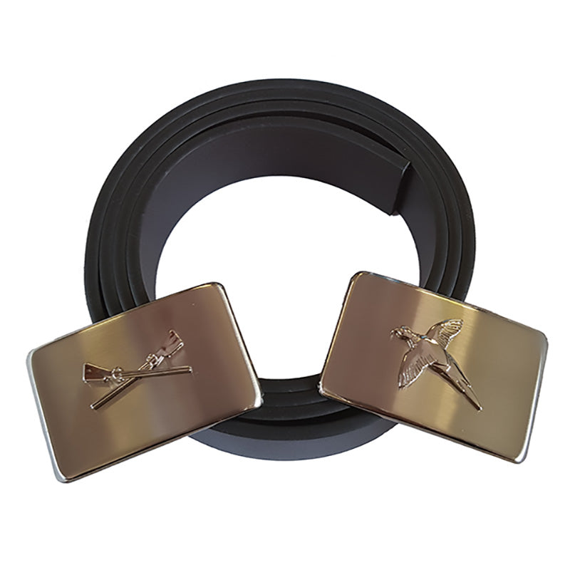 Sax Soprano Leather Belt Pheasant & X Guns Buckles