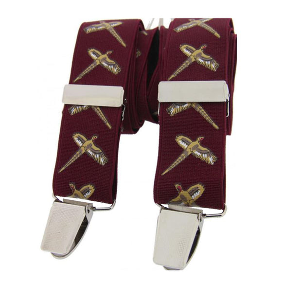 Soprano Country Flying Pheasant Burgundy 35mm X Style Back Braces
