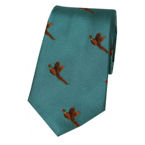 Soprano Flying Pheasants On Cyan Ground Country Silk Tie