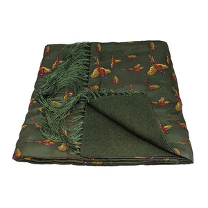 Soprano Green Flying Pheasants Silk Scarf with Wool Backing